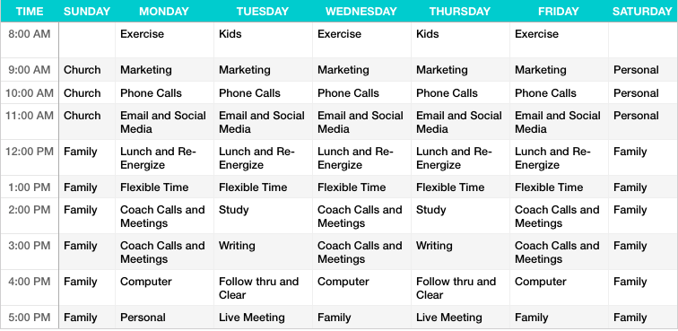 Sample Work Schedule AJ Puedan – Sample Marketing Schedule